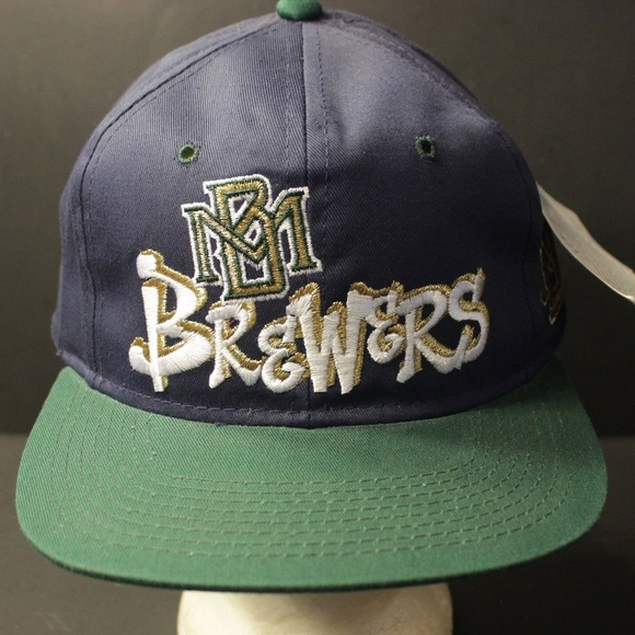 check out 3702e 1f0d4 Vintage Milwaukee Brewers Snapback Hat Retro Blue